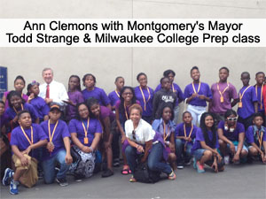 Ann Clemons with Montgomery's Mayor Todd Strange and Milwaukee College Prep class